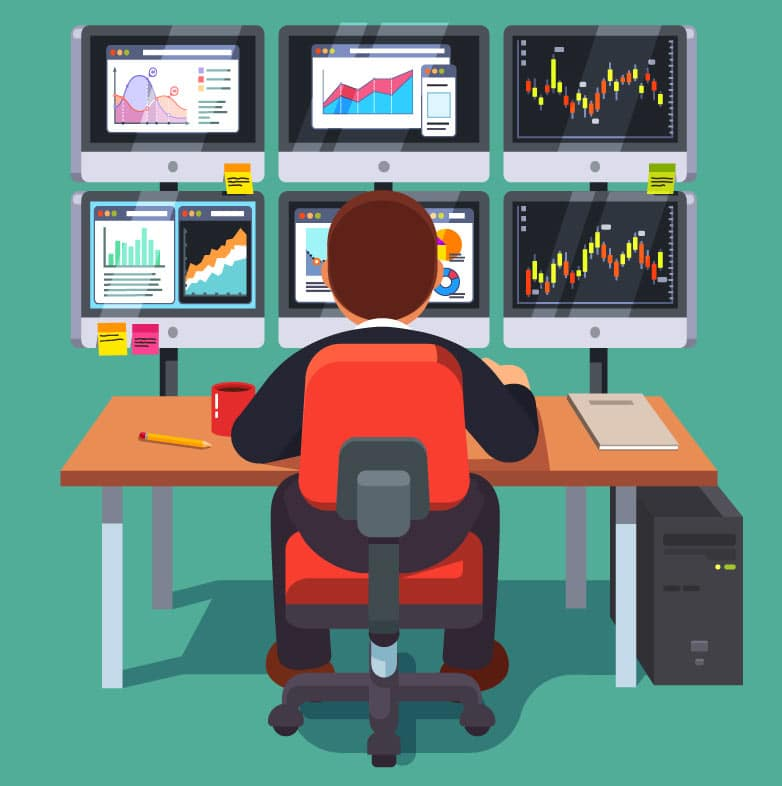 Illustration of a person sitting at a desk with 6 computer displays