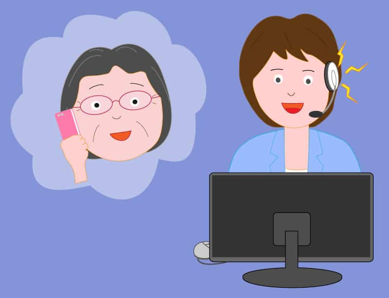 Illustration of a phone support person talking to an elderly woman